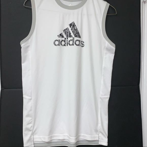Adidas Boys White Drop Tail Jersey